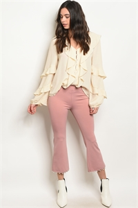 C76-A-5-P14472 MAUVE WITH PEARLS PANTS 2-2-2