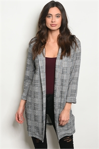 C95-A-1-C31748 GRAY BLUE CHECKERED CARDIGAN 3-2-2