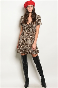 S14-12-4-D8262 BROWN IVORY LEOPARD DRESS 3-2-1