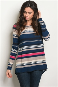 C17-B-2-NA-T1329 TEAL FUCHSIA STRIPES TOP 2-2-2