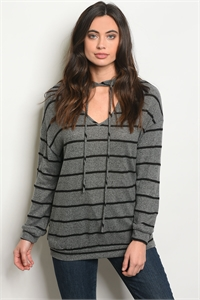 C7-B-5-NA-T20160 GRAY BLACK STRIPES TOP 2-2-2