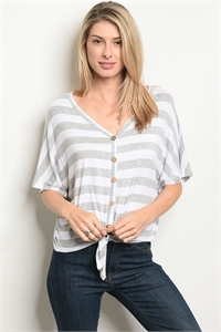 C47-B-1-T3173 GRAY WHITE STRIPES TOP 2-2-3