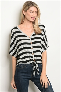 C47-B-1-T3173 GRAY BLACK STRIPES TOP 2-2-1