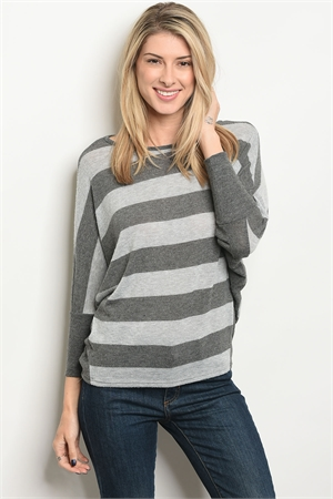 C44-B-3-T417-2 GRAY CHARCOAL STRIPES TOP 3-2-1