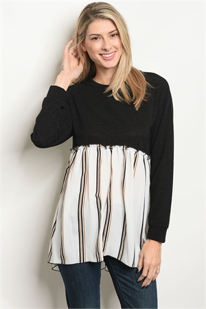 C71-A-6-T5992 BLACK OFF WHITE STRIPES TOP 2-2-2