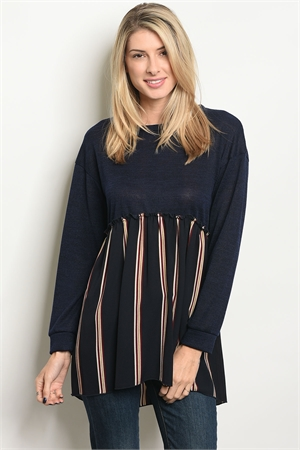C71-A-6-T5992 NAVY WHITE STRIPES TOP 2-2-2