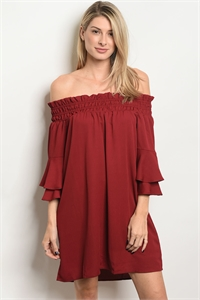 S13-10-2-DS6413 BURGUNDY DRESS 1-1-2-1