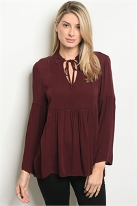 S13-10-2-TS2610 BURGUNDY TOP 1-3-1