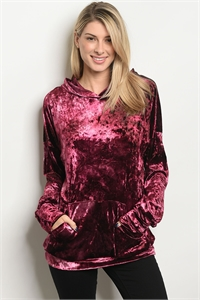 C93-B-1-T53471 WINE VELVET TOP / 3PCS