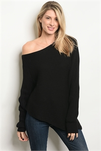 S19-9-1-S7010 BLACK SWEATER 3-2-1