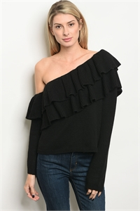 S19-9-1-S7014 BLACK SWEATER 3-2-1