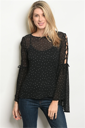 C17-B-4-T5768 BLACK OFF WHITE DOTS TOP 2-2-2