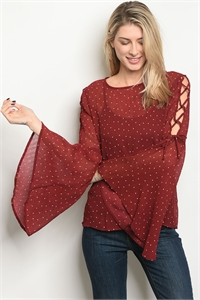 C21-B-4-T5768 BURGUNDY PEACH DOTS TOP 2-2-2