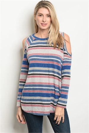 135-4-2-T19173 GRAY MULTI STRIPES TOP 2-3-2