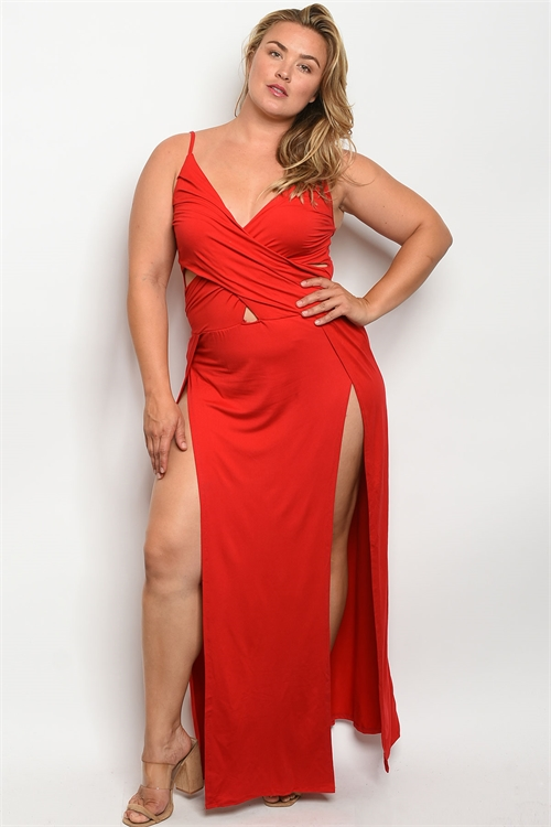 Z-B-MD8008X RED PLUS SIZE DRESS 2-2-2