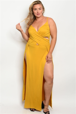 Z-B-MD8008X MUSTARD PLUS SIZE DRESS 2-2-2