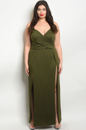 Z-B-MD8008X OLIVE PLUS SIZE DRESS 2-2-2