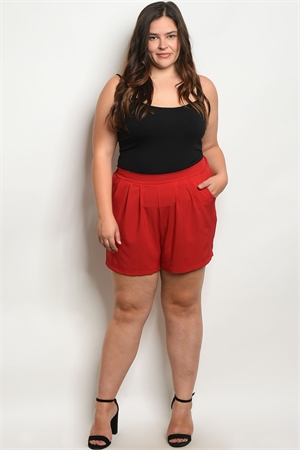 C24-B-1-S5456X RED PLUS SIZE SHORTS 1-1-1