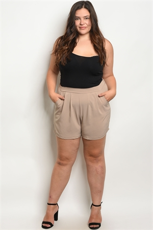 C29-B-2-S5456X TAUPE PLUS SIZE SHORTS 2-2-2