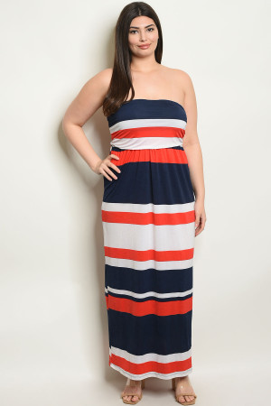 C22-A-1-D4447X NAVY ORANGE STRIPES PLUS SIZE DRESS 2-2