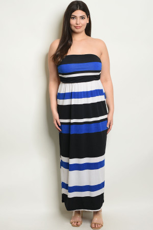 C15-A-1-D4447X NAVY BLACK STRIPES PLUS SIZE DRESS 2-1-2