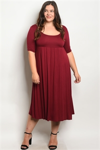 C21-A-1-D2404X BURGUNDY PLUS SIZE DRESS 2-2-3