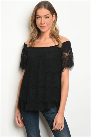 S17-12-2-T5384 BLACK OFF SHOULDER TOP 3-2-2