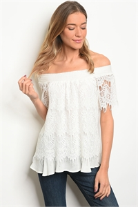 SA3-0-4-T5384 WHITE OFF SHOULDER TOP 2-2-2