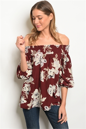 C4-B-1-T3191 BURGUNDY CREAM OFF SHOULDER TOP 1-2-2