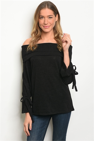 C85-A-2-T33677 BLACK OFF SHOULDER TOP 2-2-2