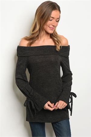 C83-A-1-T33677 CHARCOAL OFF SHOULDER TOP 1-2-1