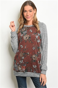 C93-A-6-T7716 GRAY MAUVE FLORAL TOP 2-2-2