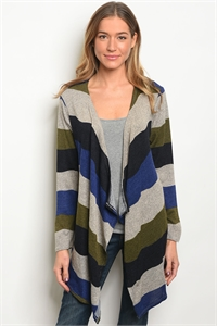 C88-A-1-C3019 ROYAL OLIVE STRIPES CARDIGAN 2-1-1