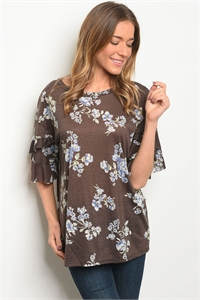 C81-B-5-T7568 BROWN FLORAL TOP 2-2-2
