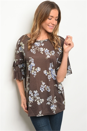 C75-B-1-T7568 BROWN FLORAL TOP 3-2-2