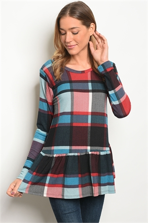 C84-A-1-T7667 RED CHECKERED TOP 3-2-1