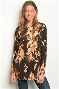 C70-A-1-T7758 BROWN FLORAL TOP 3-2-2