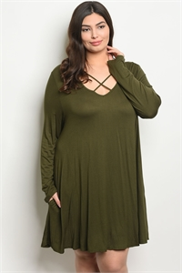 C101-A-7-D9767X OLIVE PLUS SIZE DRESS 3-2-1