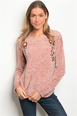 135-4-1-S9224 BLUSH WITH FLOWER EMBROIDERY SWEATER / 2PCS