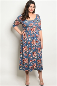 C17-A-4-D2404X INDIGO FLORAL PLUS SIZE DRESS 2-2-2