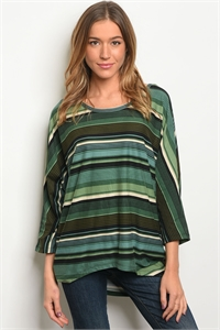 S20-1-5-T1193 GREEN STRIPES TOP 2-2-2