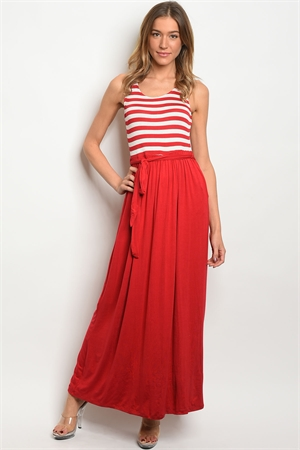 S19-7-4-D5474 RED IVORY STRIPES DRESS 3-2-2