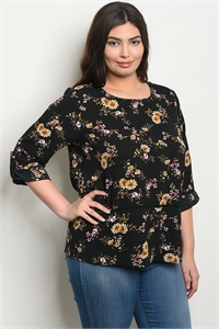 SA4-6-4-T9227X BLACK FLORAL PLUS SIZE TOP 2-2-2