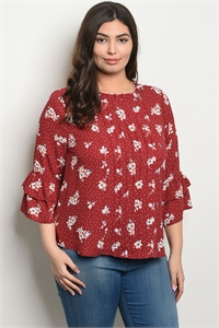 S4-10-1-T9293X BURGUNDY FLORAL PLUS SIZE TOP 2-2-2