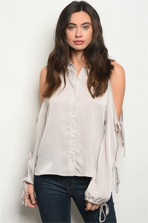 C10-B-1-T08929 GRAY TOP / 3PCS