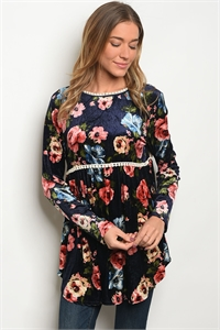 C38-A-1-T7637 NAVY WITH ROSES PRINT TOP 1-2-2