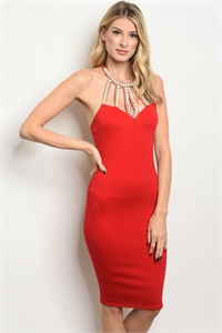 C32-A-4-D170328 RED WITH PEARLS DRESS 2-2-2