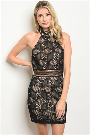 S12-1-1-D3026 BLACK NUDE DRESS 3-2-1