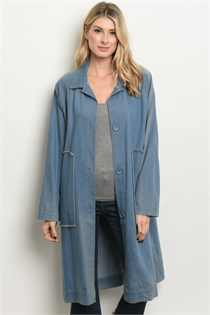 S21-4-1-TC11461 DENIM BLUE TRENCH COAT 2-2-2