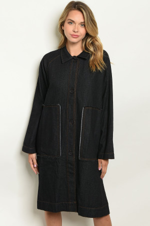 S21-2-1-TC11461 BLACK DENIM TRENCH COAT 2-2-2